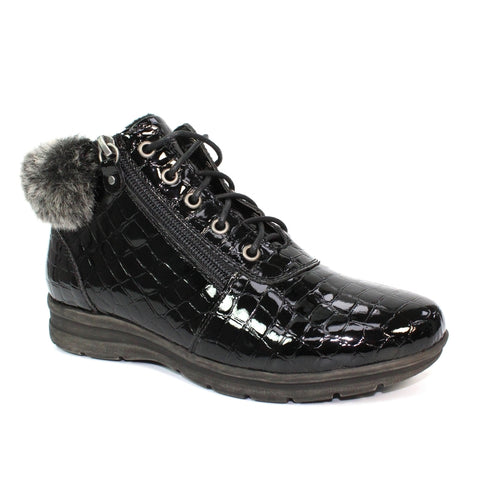 Lunar Betsy BLACK CROC Ankle boot with Laces and inside zip.