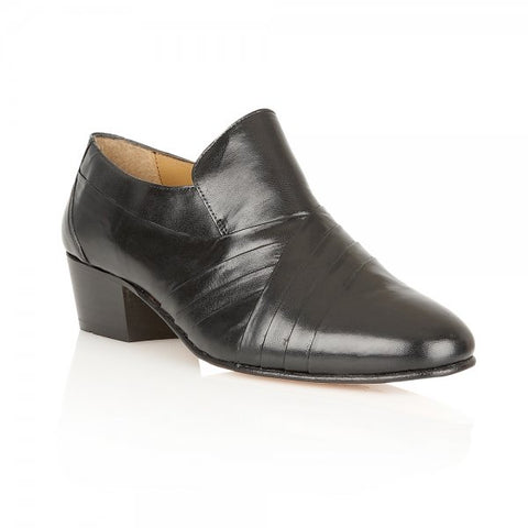 Rombah Wallace Black Carnaby Kid Leather Slip on with Cuban Heel
