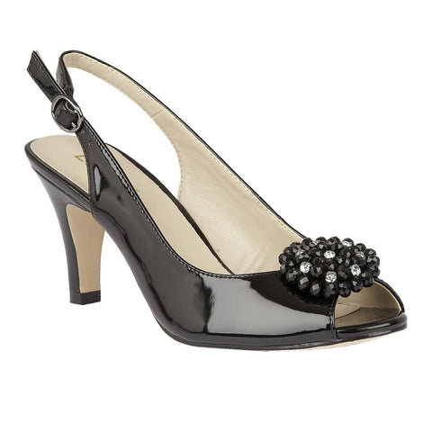 Lotus Ladies Black Elodie Patent Sling-Back Shoes