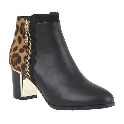 Lotus Black Greeve Leopard-Print Shiny Ankle Boots
