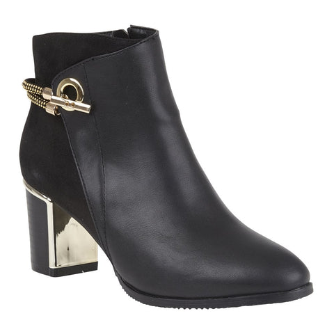 Lotus Black Honey Heeled Ankle Boots