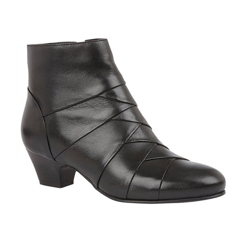 Lotus Ankle Boots with Zip Tara Black Leather