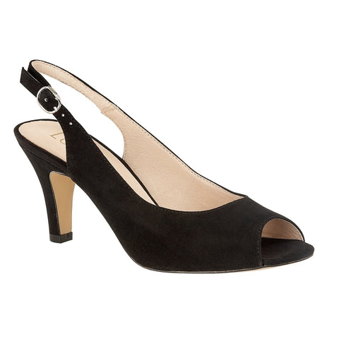 Lotus 50900 Black Microfibre Sommer Peep-Toe Sling-Back Shoes