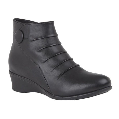 Lotus Black Mila Leather Wedge Ankle Boots