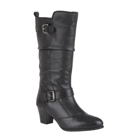 Lotus Miriam BLACK Leather Mid Calf Boot