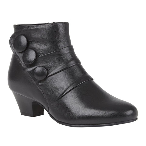 Lotus Black Prancer Leather Pleated Ankle Boots