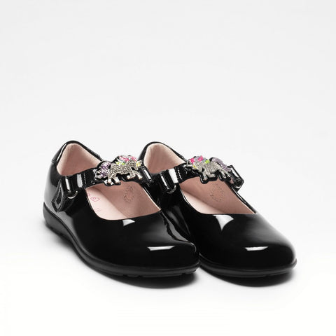 Lelli Kelly 8312 BLACK  Patent  BLOSSOM Shoe with Unicorn Trim F Fitting