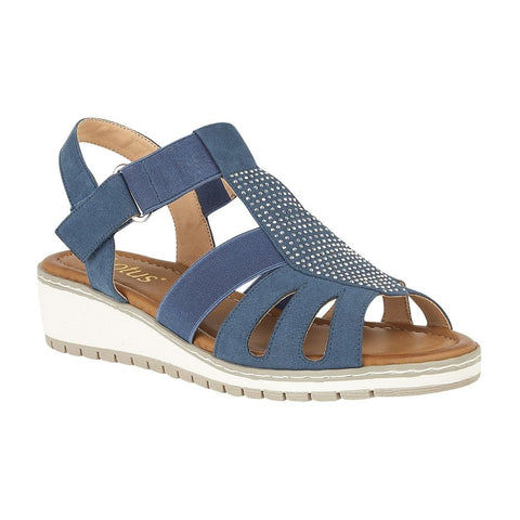 Lotus Ladies Blue Rene Wedge Velcro Sandals