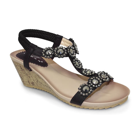 Lunar CALLY Black  Wedge  Sandal