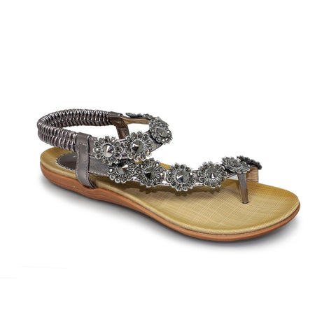 Lunar CHARLOTTE Pewter Beaded Floral Toe post Sandal