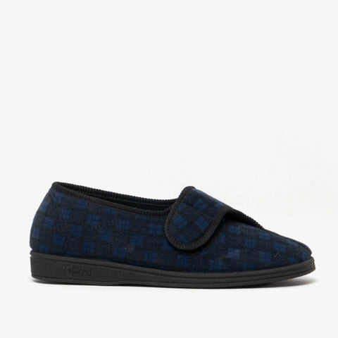 Comfylux Paul Navy Touch Fastening Mens Slipper