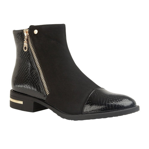 Lotus Coppice Black Snake-Print Microfibre Ankle Boot