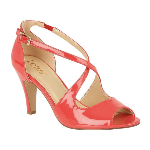 Lotus Coral Patent Rosalie Strappy Shoes