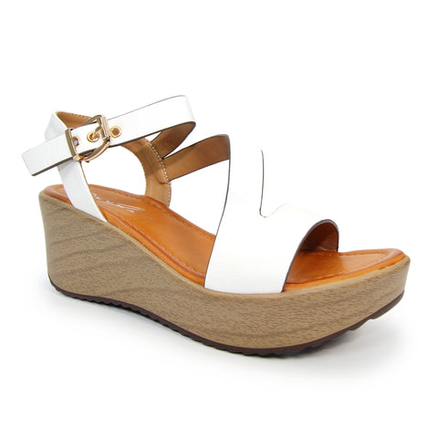Lunar Cullen WHITE JLH192 Strappy Wedge Sandal