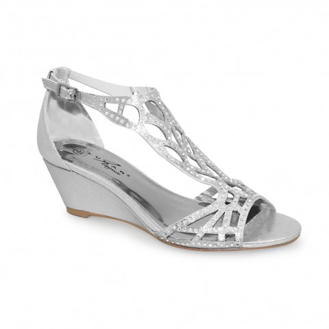 Ladies Lunar Court Shoe FLC111 Denton in Silver matching bag available
