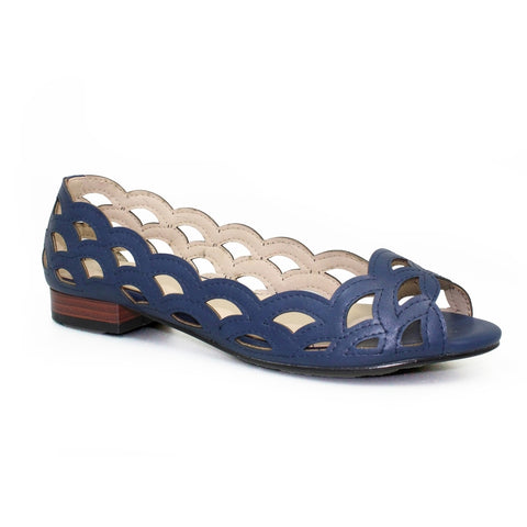 Lunar Devine Scallop Pattern Summer Pump Navy FLC160BL