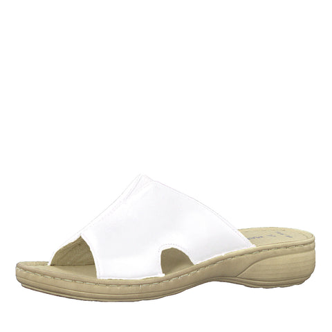 Marco Tozzi 27901-22 WHITE Leather Slider Mule Sandal
