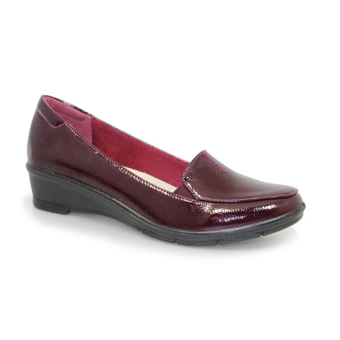 Lunar Elsbeth Burgundy Patent Shoe