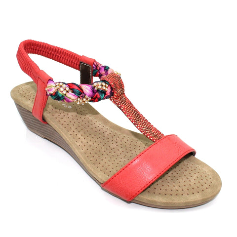Lunar Fern Diamonte Wedge Sandal RED JLH980