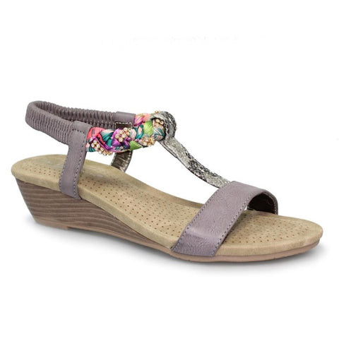 Lunar Fern Diamante Wedge Sandal GREY JLH9807BL