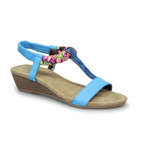 Lunar Ladies Fern Diamante Wedge Sandal Jlh907