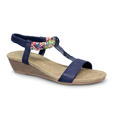 Lunar Fern NAVY JLH9807BL Diamonte Wedge Sandal