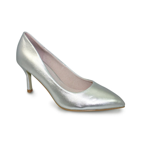 Ladies Lunar Court Shoe FLC090 Petal in Silver matching bag available