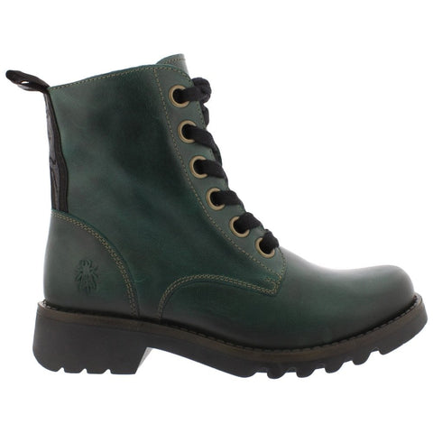 Fly London Ragi PETROL Soft Leather Military Style Boot
