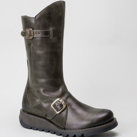 FLY London Mid Calf Boot Mes 2 Brown Leather