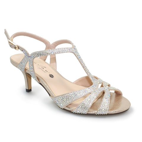 Lunar Ladies Francie Wide Fit Gemstone Sandal GOLD FLR524GD