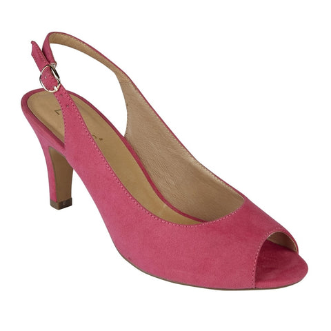 Lotus 50900 Fuchsia Microfibre Sommer Peep-Toe Sling-Back Shoes