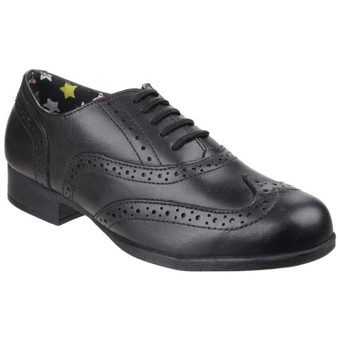Hush Puppies Kada BLACK Leather Girls Brogue shoe