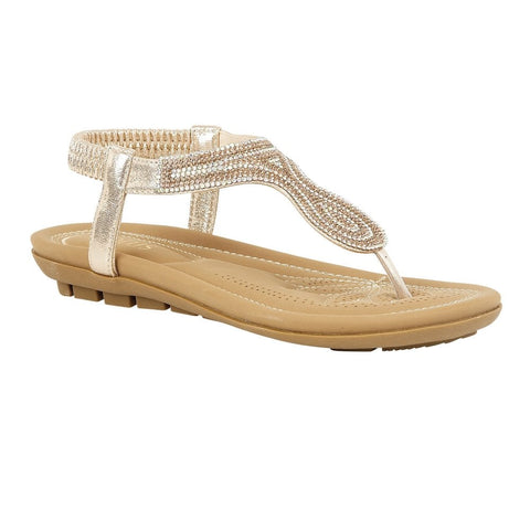 Lotus Ladies Gold Delia Flat Toe-Post Sandals