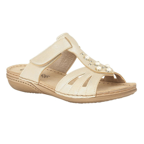 Lotus Ladies Gold Rachelle Flat Sandals