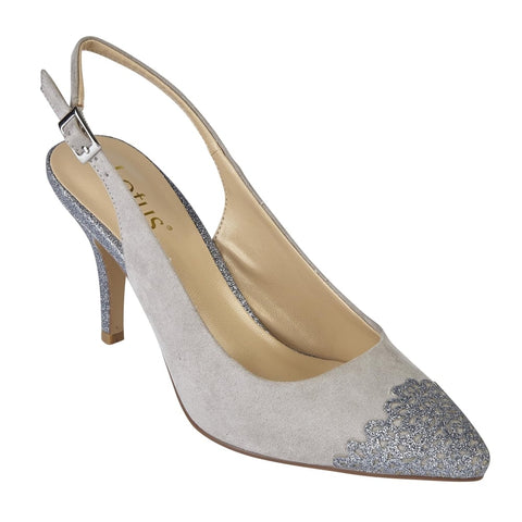 Lotus 50796 Grey & Pewter Glitz Arlind Sling-Back Court Shoes
