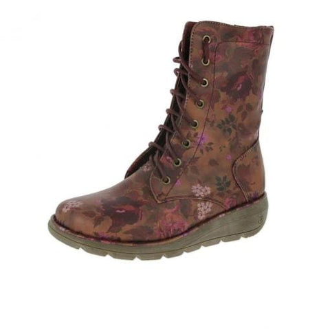 Heavenly Feet Lace Boot Walker Berry Floral