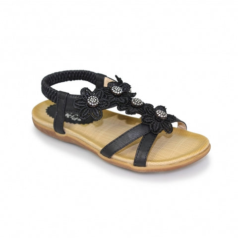 Little Ladies Lunar Sandal JLH002 Fiji in Black