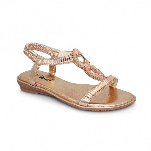Little Ladies Lunar Sandal JCH004 Samantha in Rose Gold