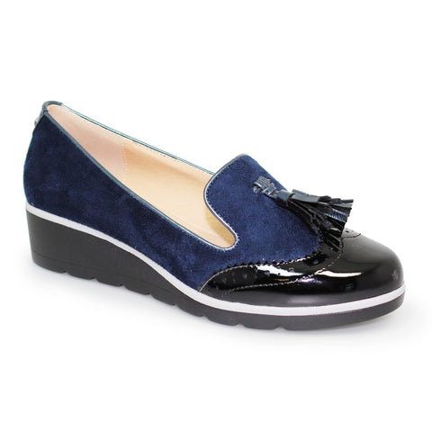 Lunar Karina Navy Brogue Wedge Shoe