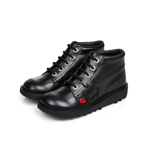 Kickers Kick Hi J/Y 31-39 Classic BLACK LEATHER Boot