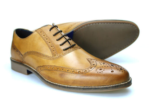 Mens Red Tape Kildare Tan Quality Leather Brogue Shoe