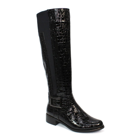 Lunar Kizzy BLACK Croc long leg boot