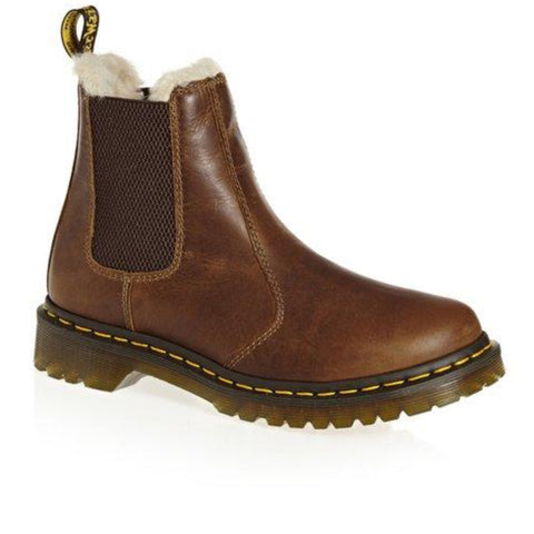 Dr Martens 2976 Leonore Fur Lined Butterscotch Leather Chelsea Boot