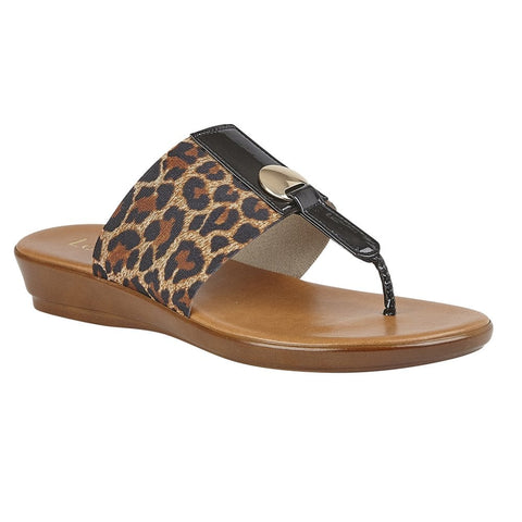 Lotus Leopard-Print Arna Slip-On Toe-Post Sandals