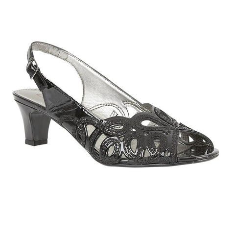 Lotus 50136 Harper Women's Strappy heels in Black patent leather