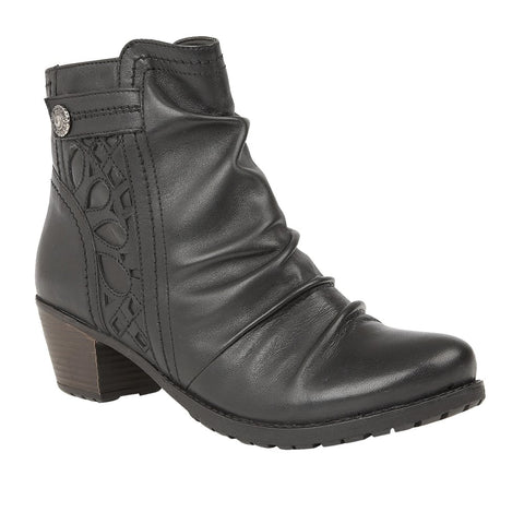 Lotus Maples Black Leather Ankle Boots
