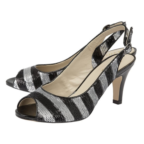 Lotus Palladia Black Silver Ladies Shoes 50731
