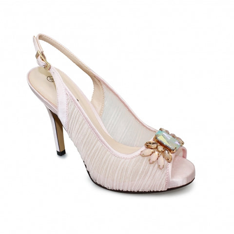 Ladies Lunar Court Shoe FLR461 Amalfi in Pink matching bag available