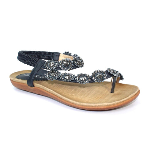 Lunar CHARLOTTE Black Beaded Floral Toe Post Sandal