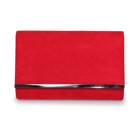Lunar Jayla Red Faux Suede Clutch Bag